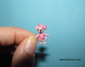 Miniature Pink Bear Girl - Dollhouse micro Teddy bear, crochet amigurumi dollhouse doll toy micro artist bear unique gift ideas for her