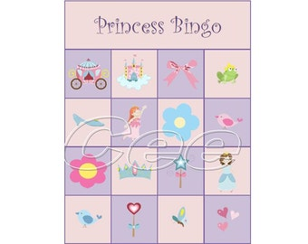 Princess Bingo, Princess Birthday Party Game, Children Bingo Game, Instant Download Bingo Game, Princess Birthday Party