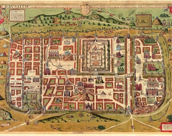 Jerusalem City Plan, Christiaan van Adrichem, 1584