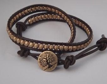 Tree of Life Gold Wrap Bracelet, Leather Wrap Bracelet, Gold Wrap Bracelet