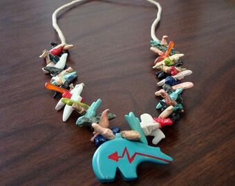 Zuni Bear Multicolored Mixed Fetish Necklace