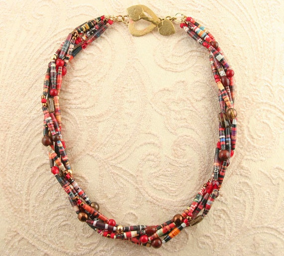 Items similar to Hand Rolled Paper Bead Torsade on Etsy