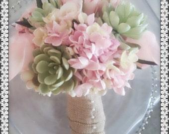 Rustic wedding bouquet, burlap wedding bouquet, succulent wedding bouquet