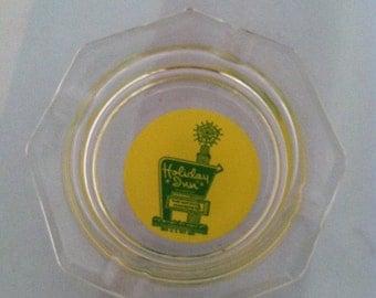 Glass ASHTRAY-Original HOLIDAY INN Logo Souvenir-Mad Men Cigar Cigarette Smoking Ashtray