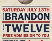 Baseball Birthday Party Printable Invitation - Vintage Inspired