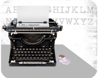 Custom, personalized mouse pad - Typewriter - Add your own text