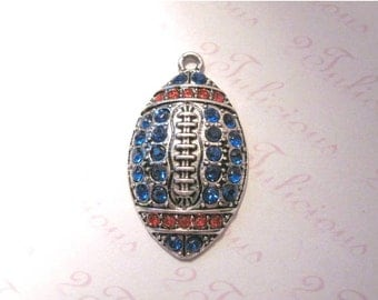Antique Silver Plated Football Crystal Sports Pendant in Orange and Blue Team Colors ~ Mix and Match ~ 5 or More Charms Just 2.23 Each!