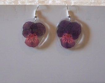Small purple and pink Pansy  earrings