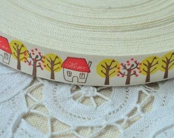 15mm(5/8'') x 5 Yards Cotton Ribbon Sewing Tape Label Print Ribbon Label - Red House Yellow Tree Flower Y021
