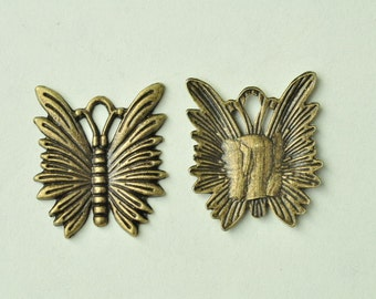 15pcs Antique Bronze Butterfly Charms 25x21mm MM883