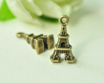 20pcs Antique Bronze Small Eiffel Tower Charms 15x8mm MM602