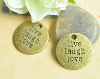 15pcs Antique Bronze Live Laugh Love Round Letter Charms 20mm MM174