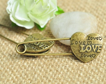 6pcs Antique Bronze Love Heart Safety Pin Brooch 12 Patterns for Your Choice 54x19mm K291