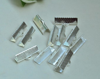 50pcs Silver Plated Leather Crimp End For Ribbon End Cord Fastener Clasps 20mm XJ030