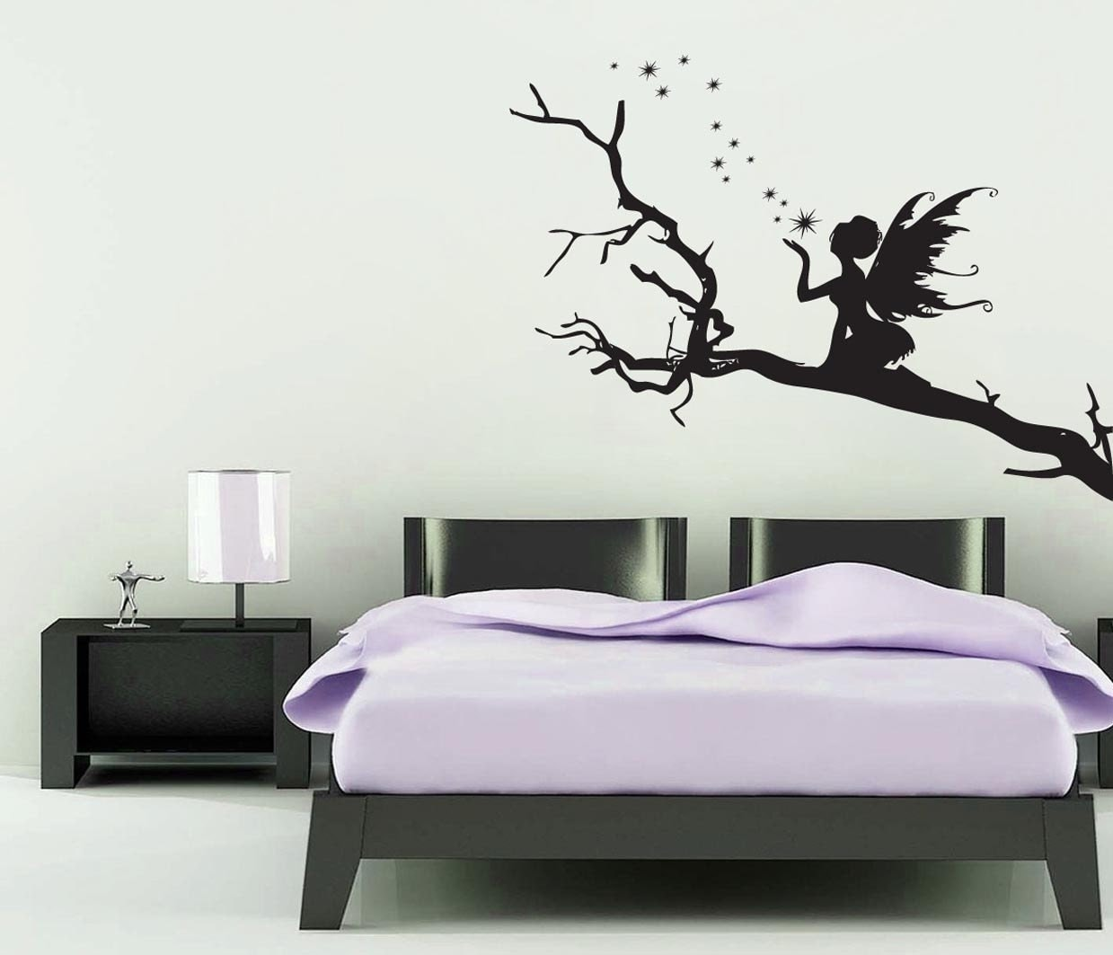 Fairy Wall Art fairy on a branch wall sticker / girls room