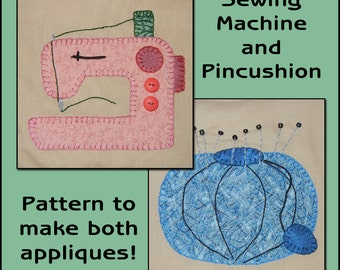 Sewing Room Applique Templates - Sewing Machine Applique Pattern - Pincushion Applique Template - Applique Template, PDF Pattern, DIY