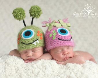 Newborn Baby Twin Fuzzy Monster Hats Crochet Photo Prop
