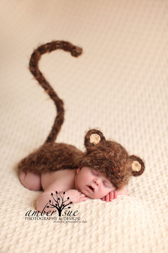Crochet Pattern For Baby Monkey Hat : Ready To Ship Monkey Fuzzy Hat & Cape Set by ...