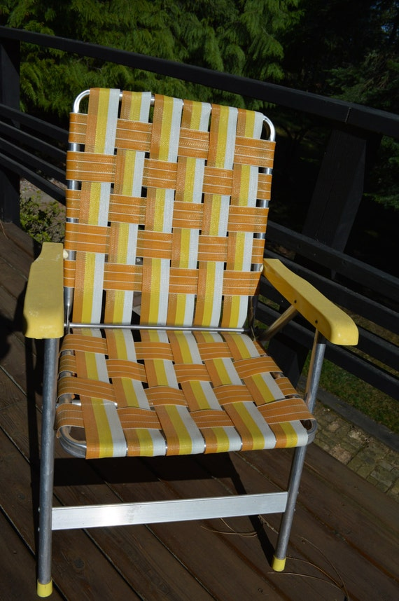 Vintage Aluminum Webbed Lawn Chair Vintage Outdoor Chair