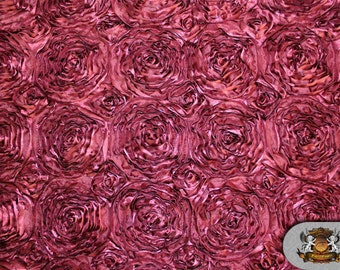 "Satin ROSETTE Burgundy Fabric / 54"" Wide / Sold by the Yard"