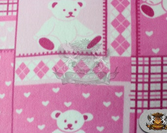 "Fleece Printed TEDDY BEAR Pink Fabric / 58"" Wide / Sold By the Yard N-424"