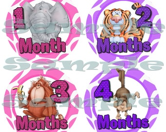 Precut First Year Monthly Stickers Baby Girl Shower gift 12 Month stickers set Infant Month stickers Onepiece Stickers Month to Month Jungle