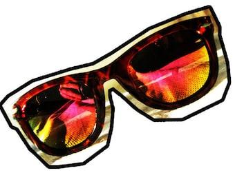 Vintage Deadstock Wayfarer sunglasses - Faux Tortoise Shell Frame with Polar Mirrored Lenses