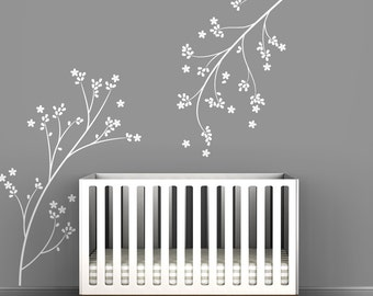 White Blossom Brannches Wall Decal Wall Decal by LittleLion Studio