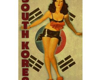 SOUTH KOREA 1PS- Handmade Leather Journal / Sketchbook - Travel Art