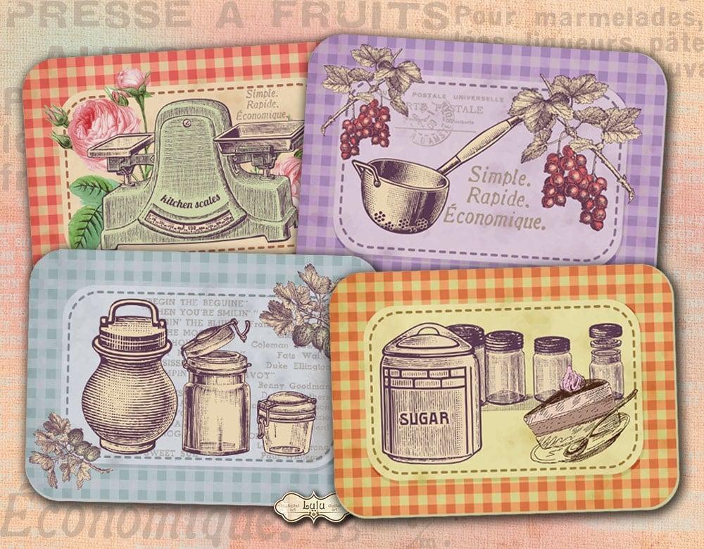 Retro kitchen cards recipe cards vintage cards - Fotos de cocinas antiguas ...