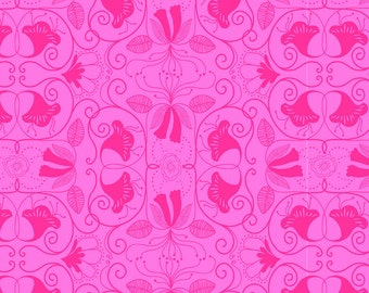 One Yard Islandia Pink Cotton Quilt Fabric - Molokai by Jessica Swift for Blend Fabrics (w7)