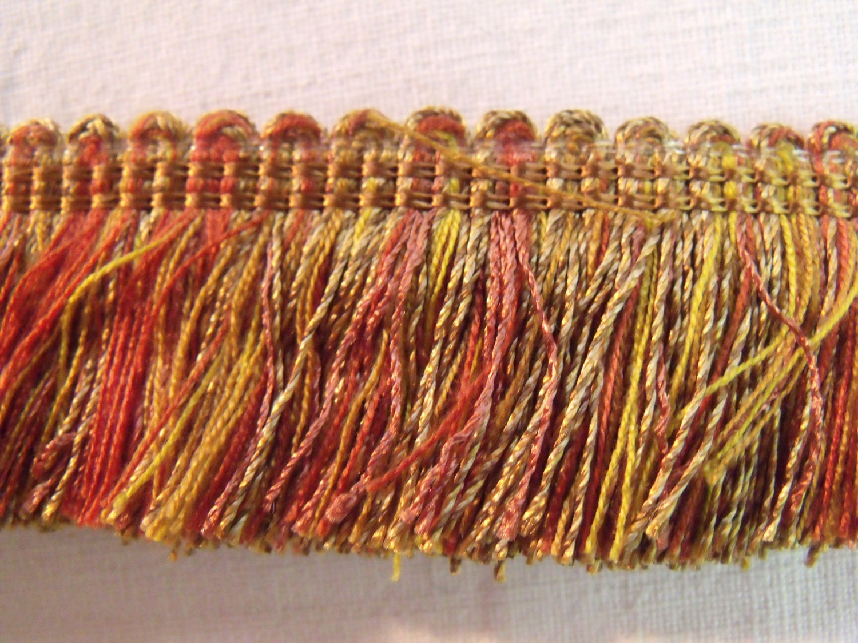 """Vintage Lyon France 1"""" Brush Fringe Trim Gold Pink Orange ..."""