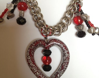 Red and Black Chainmaille Necklace
