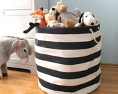 XXXL Nautical Storage Basket - navy and white bold stripe - Storage Basket Organizer - oversized organizer - toy basket - kids room storage