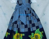 NEW Handmade Daisy Kingdom Sun Flowers Border Dress Custom Sz 12M-14Yrs - princesstrunk