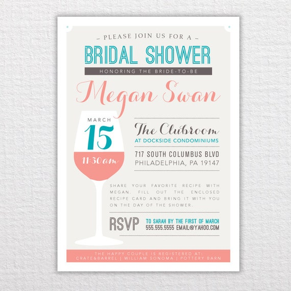 Custom Wine Bridal Shower Invitation - PDF Printable