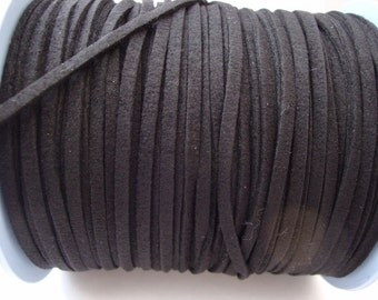 3m black faux suede cord 3mm wide jewellery stringing 3 metres