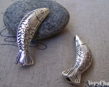 10 pcs of Antique Silver Large Fish Beads Charms 10x35mm A400