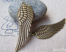 10 pcs of Antique Bronze Large Feather Wing Charms Pendants 16x48mm A2827