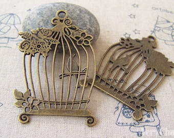 5 pcs of Antique Bronze Huge Flat Bird Cage Pendants Charms 38x58mm A5245