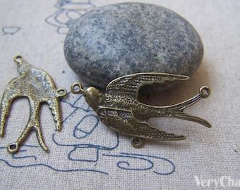 10 pcs Antique Bronze Swallow Bird Dove Charm Connector Three Loops  20x39mm  A4726