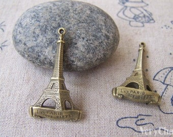 10 pcs Antique Bronze 3D Eiffel Tower Charms 18x32mm Double Sided A599