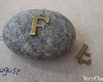 10 pcs of Antique Bronze Brass Alphabet Letter F Charms 9x15mm A2411