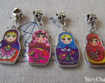 Enamel Matryoshka Russian Doll Pendant Antique Silver Charms Mixed Style Double Sided Set of 10 A2378