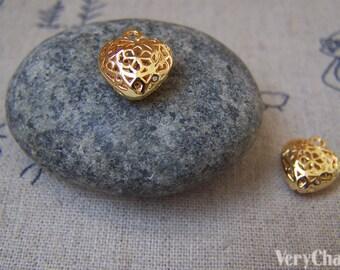 10 pcs Non Tarnish 16K Gold Flower Heart Charms 11x13mm A2261