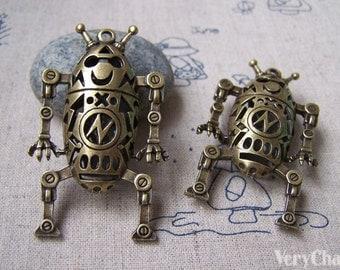 2 pcs of Antique Bronze Filigree Robot Pendant Double Sided 32x58mm A730