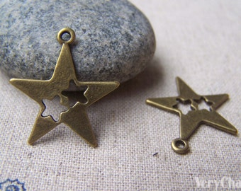 20 pcs of Antique Bronze Filigree Star Charms 24mm A1428