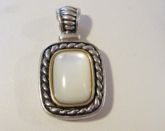 Vintage Mother Of Pearl 925 & 14K pendant jewelry