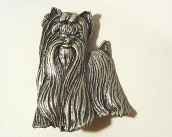 Vintage costume jewelry silver tone Terrier pin/brooch
