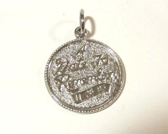 Vintage Sterling silver A date to remember pendant